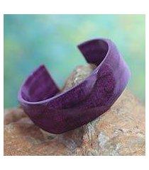 leather cuff bracelet, 'dasba in mauve' (ghana)