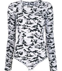 mm6 maison margiela camouflage printed bodysuit - black