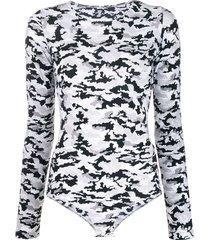 mm6 maison margiela camouflage printed bodysuit - black