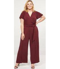 lane bryant women's faux-wrap flutter-sleeve jumpsuit 14/16 deep cranberry