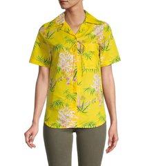 kenzo women's floral print button-down blouse - lemon - size 36 (4)
