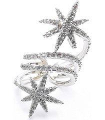 anillo white star micro pave baño de rodio sara k