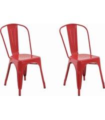conjunto 02 cadeiras iron vermelha rivatti