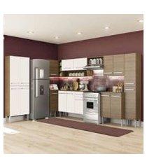 cozinha completa de canto reto madesa emilly live com armário e balcão 17 portas 1 gaveta rustic/branco rustic/branco