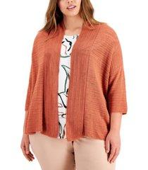 alfani plus size open-stitch cardigan sweater, created for macy's