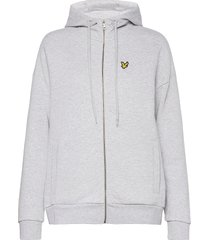 hooded zip through sweatshirt hoodie trui grijs lyle & scott