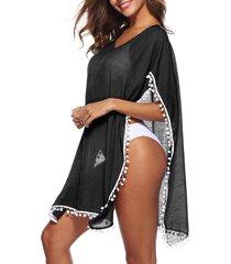 deep side split tassel tinta unita cover ups costumi da bagno per le donne