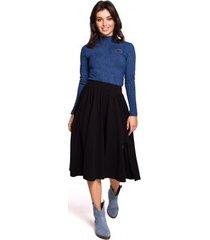 blouse be b129 coltrui met geborduurd detail - denim