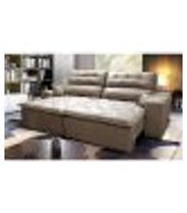 sofá 2,82m retrátil e reclinável com molas cama inbox confort tecido suede velusoft castor