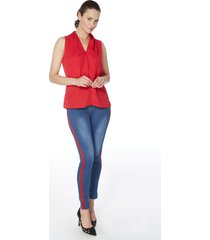 pantalon jeans push up tiro alto banda lateral 609