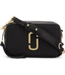 marc jacobs bolsa transversal softshot de couro - preto