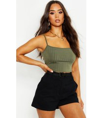 recycled chunky rib crop top, khaki