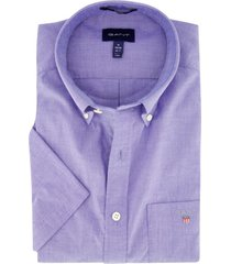 gant overhemd korte mouw blauw