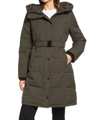women's sam edelman pillow collar belted puffer coat, size small - green