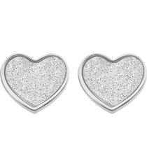 orecchini cuore in acciaio rodiato e lurex per donna
