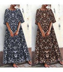 zanzea vestido largo de verano con vestido largo de verano vestido de noche con estampado de leopardo -marrón