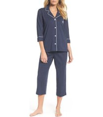 women's lauren ralph lauren knit crop cotton pajamas, size x-small - blue