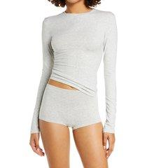 women's skims long sleeve stretch cotton tee, size 3 x - grey