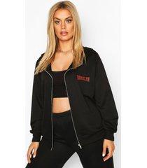 plus brooklyn slogan zip up hoodie, black