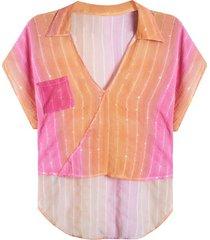 blusa mujer estampada con bolsillo color surtido, talla uni