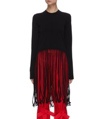 fringed wool blend knit sweater