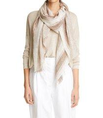 women's brunello cucinelli metallic linen blend scarf, size one size - white