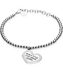 bracciale con cuore 'mum: a title just above queen' in acciaio per donna