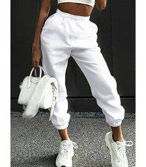 bolsillos laterales blancos cintura elástica pantalones