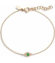 ef collection evil eye diamond & tsavorite line bracelet, size 7 in yellow gold at nordstrom