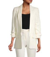 tommy hilfiger women's open-front linen-blend blazer - ivory - size 14
