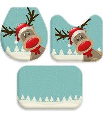 jogo tapete love decor para banheiro rena natal único