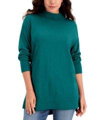 karen scott cotton high-low mock-neck sweater, created for macy's