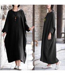 zanzea womens vintage batwing sleeve baggy kaftan pockets maxi long dress casual party solid vestido plus size (negro) -negro