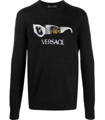 versace embellished sunglasses jumper - black