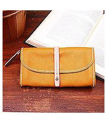 leather clutch, 'solid elegance in honey' (indonesia)