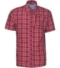 camisa estampada manga corta rojo oscuro kannú