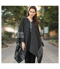 reversible alpaca blend poncho, 'gray black glyphs' (peru)
