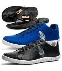 kit 2 pares de sapatênis casual dhl masculino azul e preto + chinelo conforto
