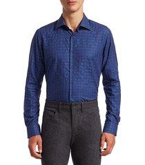 saks fifth avenue men's collection mini check print shirt - high blue - size s