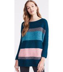 loft lou & grey striped plushfuzz poncho sweater