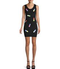 moschino women's pill-print virgin wool tank dress - black multi - size 40 (6)