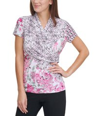 dkny mix-print ruched top