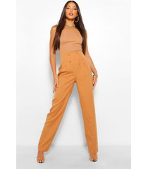 tall geplooide broek met hoge taille en rechte pijpen, geelbruin