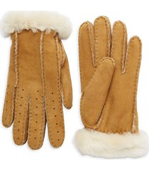 ugg women's perforated shearling gloves - black - size m