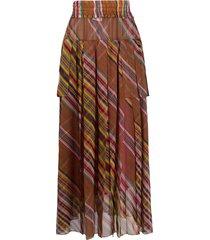 christian dior 2002 pre-owned diagonal stripes sheer skirt - brown
