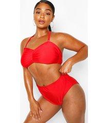 plus bandeau high waist bikini, red
