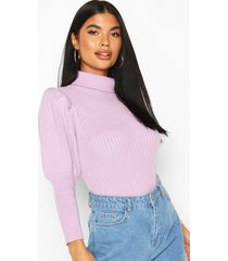 petite puff sleeve roll neck sweater, lilac