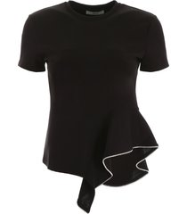 area crystal ruffle t-shirt