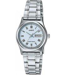 reloj analógico mujer casio ltp-v006d-2b - plateado con azul  envio gratis*