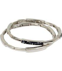 kenneth cole new york silver-tone sprinkle stone bar stretch bracelet set